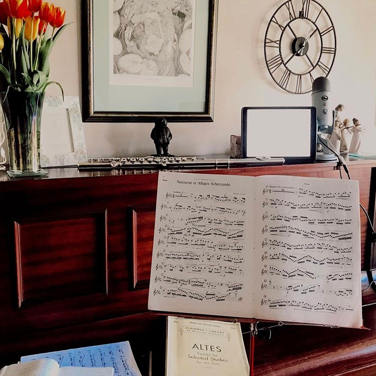 Home flute studio with iPad and blue yeti microphone